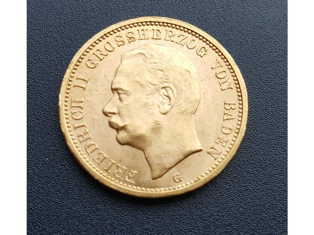 zlatá  Dvacetimarka Friedrich II. 1914