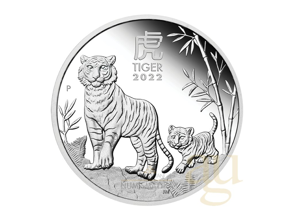 Stříbrná mince rok tygra 2022-1 Oz proof-lunární série III.