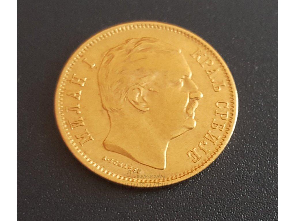 zlatý 10 dinár -král Milan Obrenovič I. 1882