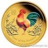 4919 investicni zlata mince rok kohouta 2017 lunarni serie ii kolorovana verze 1 oz