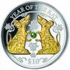 Stříbrná mince s perlou Rok krysy 2020 Fiji 1 Oz verze proof