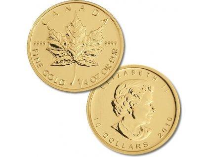 Investiční zlatá mince Kanadský Maple Leaf 1/4 Oz
