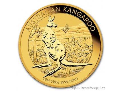 2174 investicni zlata mince australian kangaroo 2014 1 10 oz