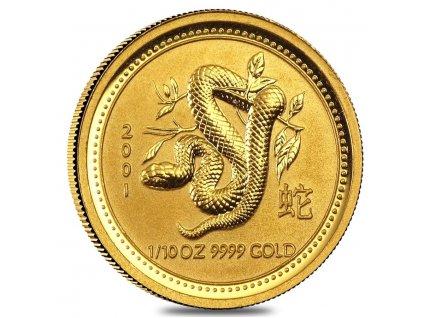 Investiční zlatá mince rok hada 2001 1/10 Oz