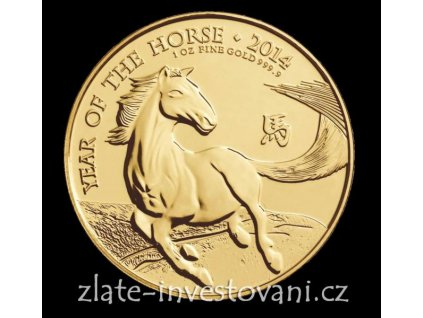 Investiční zlatá mince lunární rok koně 2014-Royal Mint 1 Oz