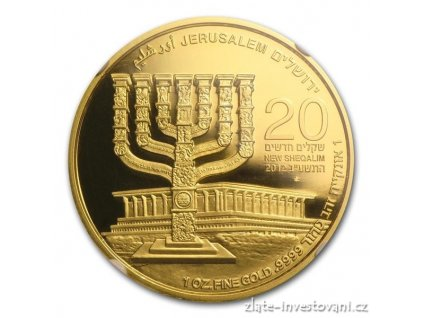Investiční zlatá mince Menorah-2012 1 Oz