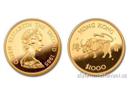 Zlatá mince rok Býka 1985-lunární série Honkong 1/2 Oz
