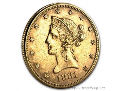 3266 zlata mince americky liberty eagle 10 dolaru rocnik 1906