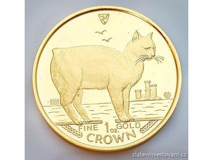 Investiční zlatá koruna Kočky Manx 1988-proof 1 Oz