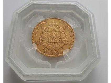Zlatý 50 frank Napoleon III. 1857