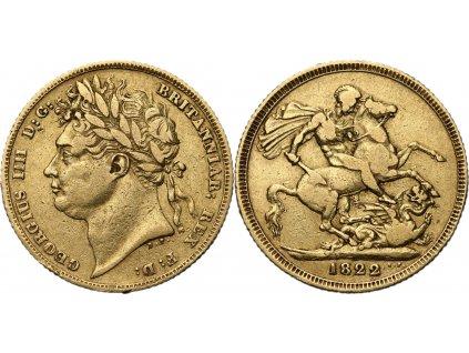 Britský zlatý Sovereign 1822-George IV.