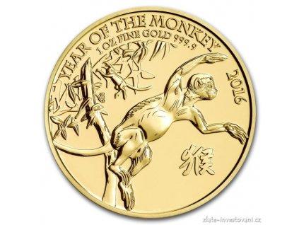 Investiční zlatá mince rok Opice 2016-lunární série UK 1 Oz