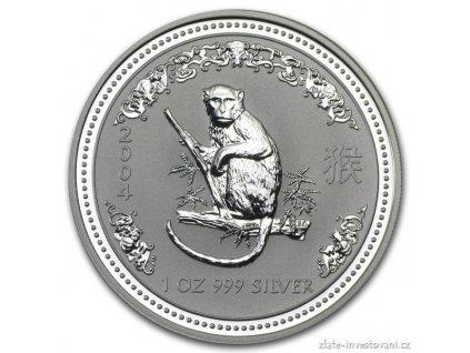 Investiční stříbrná mince rok Opice 2004 1 Oz