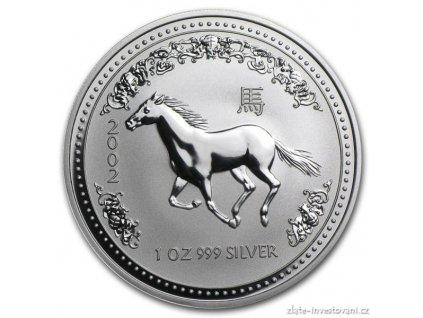 Investiční stříbrná mince rok Koně-2002 1 Oz