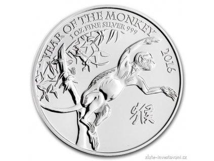 Stříbrná mince lunárního kalendáře rok Opice-British Royal Mint 1 Oz