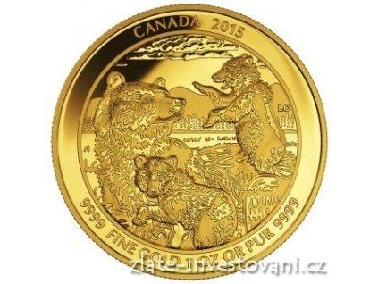 4388 zlata mince grizzly medvedi rodina 2015 1 oz