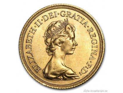 zlatá mince britský Sovereign-Alžběta II. 1974-1982