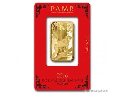 Investiční zlatý slitek PAMP rok  Opice 2016 1 Oz