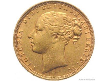 5006 investicni zlata mince britsky sovereign victoria prvni portret typ pistrucci
