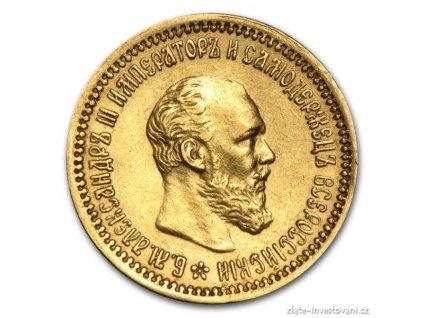 5030 zlata mince rusky 5 rubl car alexandr iii 1890
