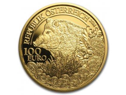 Zlatá mince 100 eur Prase divoké-rakouská série Wild life 2014 1/2 Oz
