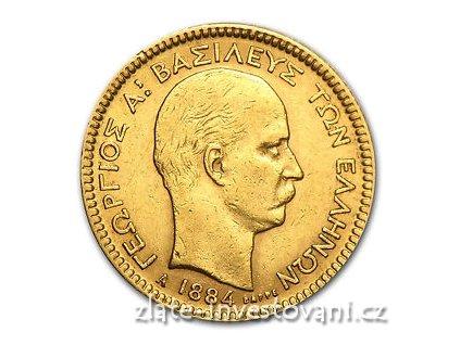 5081 zlata mince 20 drachem 1884 george i