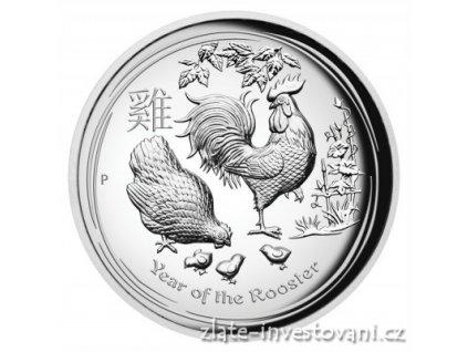5153 investicni stribrna mince rok kohouta 2017 lunarni serie ii vysoky relief 1 oz