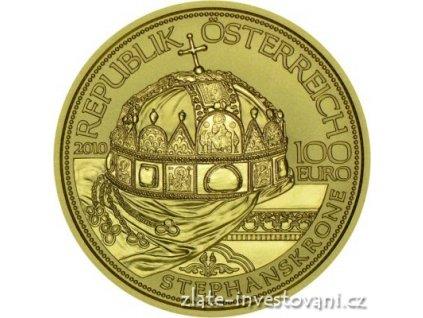 5165 zlata mince cisarska koruna svateho stepana 2010 100 eur 1 2 oz