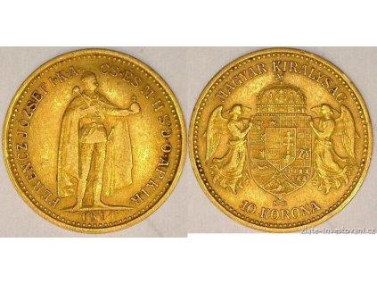 5273 zlata mince desetikoruna frantiska josefa i uherska razba 1897 kb