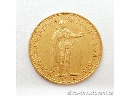 Zlatá mince Desetikoruna Františka Josefa I.- uherská ražba 1911