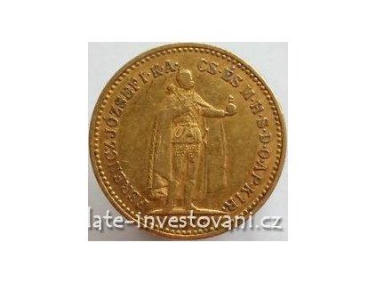 Zlatá mince Desetikoruna Františka Josefa I.- uherská ražba 1908 K.B.