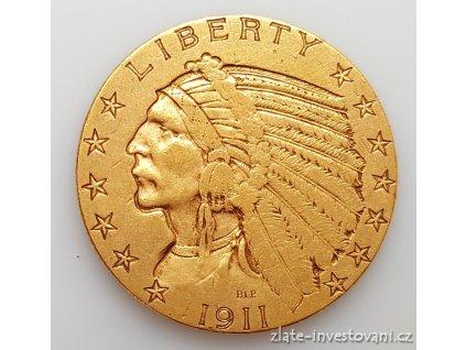 5372 zlata mince americky half eagle indiansky nacelnik 5 dolaru 1909