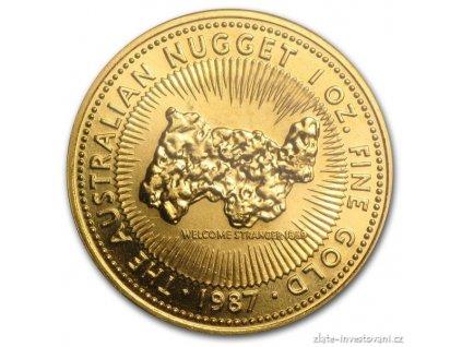 5414 investicni zlata mince australsky klokan 1987 nugget 1 oz