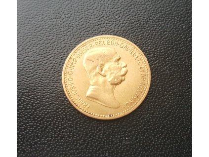 Zlatá mince 10 koruna Františka Josefa I. 1908-60 let vlády