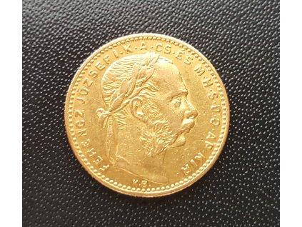 Zlatá mince Osmizlatník Františka Josefa I.-uherská ražba 1886 8 zlatník