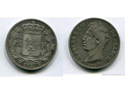 5678 stribrny francouzsky 5 frank charles x 1827 1830
