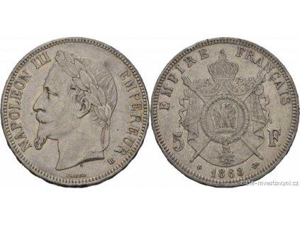 5681 stribrny francouzsky 5 frank napoleon iii