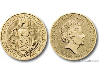 5813 investicni zlata mince jednorozec kralovny anglie 2018 heraldicka serie 1 oz