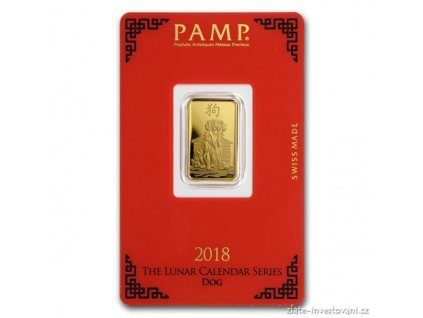 Investiční zlat slitek PAMP Rok psa 2018 5g
