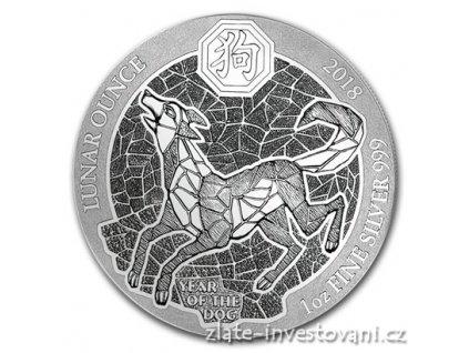 Stříbrná mince rok psa 2018-Rwanda 1 Oz