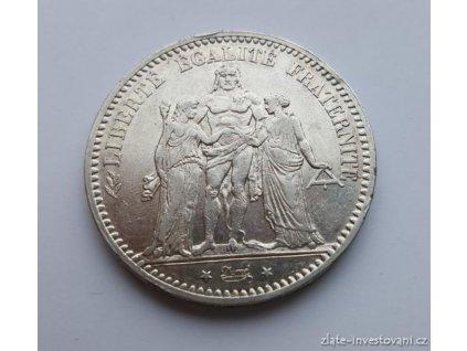 6311 stribrna mince 5 frank herkules 1875
