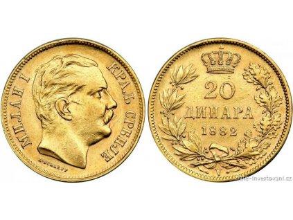 investiční zlatý 20 dinár -král Milan Obrenovič I. 1882