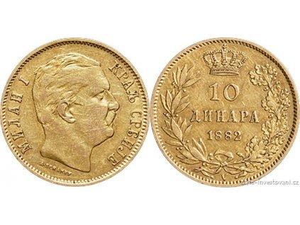 6584 zlaty jugoslavsky 10 dinar milan obrenovic i 1882