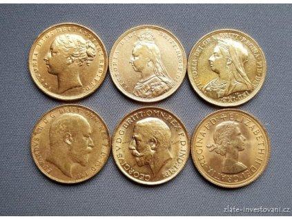 6614 investicni set zlatych britskych sovereignu sest typu