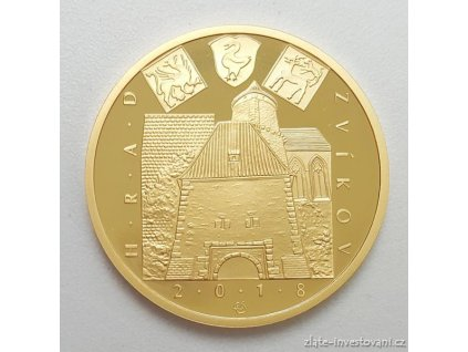 6629 zlata mince hrad zvikov 2018 serie hrady proof 1 2 oz