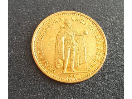 6677 zlata mince desetikoruna frantiska josefa i uherska razba 1902 k b