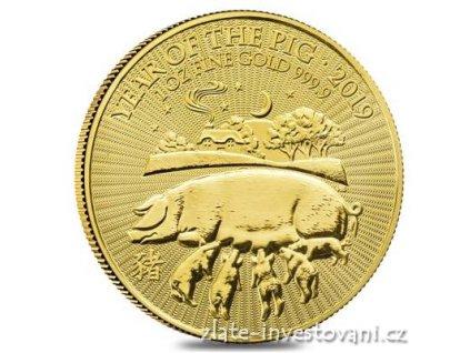Investiční zlatá mince rok Vepře 2019-lunární série Velké Británie 1 Oz