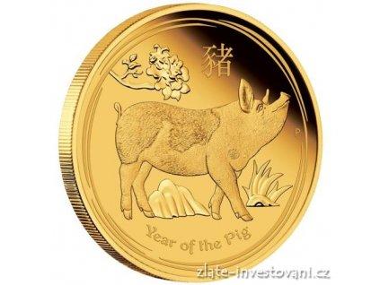 Investiční zlatá mince rok Vepře 2019-lunární série II. - proof 1 Oz