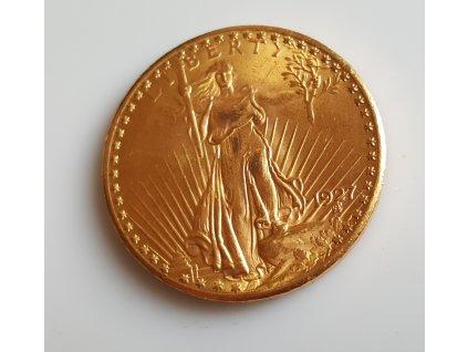 Investiční zlatá mince americký double Eagle 1927 Saint-Gaudens