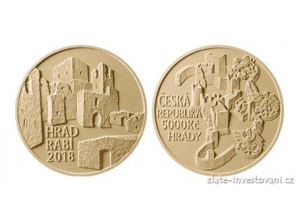 6794 zlata mince hrad rabi 2018 serie hrady bezna kvalita 1 2 oz